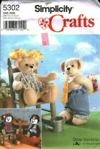 """5302 Vintage Simplicity Sewing Pattern Stuffed Decorative Teddy Bear Clothes 14"""""""