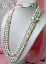 "z226  3strands 28"" 10mm white round FW pearl Necklace hope pearl"