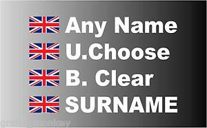 """""""SMALL"""" British Rally Car Name decal sticker graphics Union Jack"""
