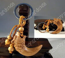 Hot sell exquisite wood carved wolf tooth statue Amulet keyring keychain R23