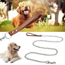 1.8M Heavy Duty Dog Puppy Pet Chain Leash Walking Lead Hook Leather Strap  ~