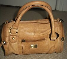 Fabulous RIVER ISLAND Small Tan Leather Barrel Bag/Bowling Bag/Handbag/Grab Bag