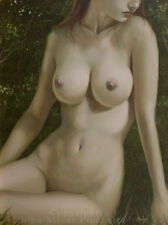 NUDE FEMALE EROTIC FIGURATIVE NATURE ART. ORIGINAL OIL PAINTING by JOHN SILVER