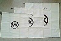 Michael Kors Dust Cover Bag Ivory Sateen Brown MK Logo 3 Sizes XL,L,M NEW