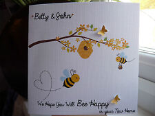 Handmade Personalised 'Bee Happy' New Home Housewarming Moving Good Luck Card