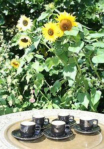 CLASSIC BLACK AND GOLD SET OF 5 DELAUNAY MADE IN FRANCE ESPRESSO CUPS