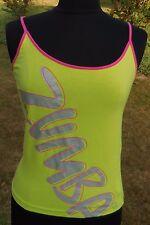 Womens Zumba Tank Top Sz L Neon Yellow Green Pink Exercise Spaghetti Strap