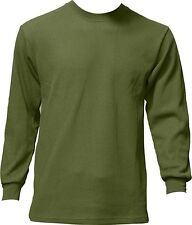 New Men Medium Weight Plain Thermal Long Sleeve Waffle Shirts Colors Size Large