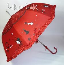 Goth : Parapluie Cloche & Canne ROUGE Fashion à Pois Noeud Manga Lolita Gothique