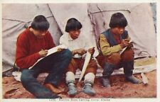 C133 Eskimo Boys carving ivory AK Alaska Postcard Eskimo
