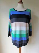 PHASE EIGHT Blue Green Stripe Oversized Wool Blend Jumper Size S