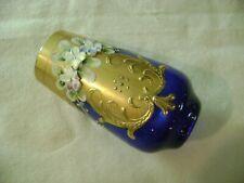 A.NASON MURANO VENEZIA VENICE ART BLUE GLASS VASE ENAMEL + GOLD GUILDING ITALIAN