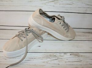 SEED Brand Cream Billie Canvas Platform Lace Up Sneakers Size 41 NEW