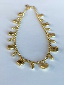 ~14k Fine Yellow Gold Ankle Bracelet Charm Anklet Cute Heart Charms 9 1/2 inch