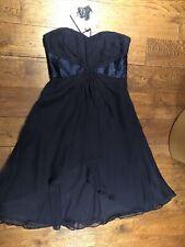 Vestido de seda señoras Costera 10 Navy Blue Fit & Flare Fiesta Boda Rrp £ 135 BNWT Nuevo