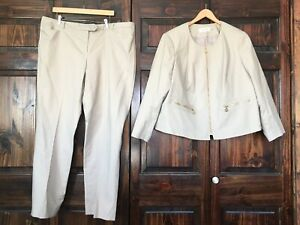 Calvin Klein Beige Full Zip Jacket Modern Fit Pants 2pc Suit Size 18W Women's