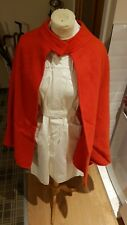Vintage nurse uniform: Red cape white dress + belts Dundee 34-38 S-M? 10-12?