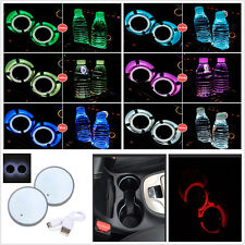 2x USB Charge Switchable 7 Colors LED Car Cup Holder Bottom Pad Atmosphere Light