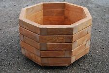 Large Wooden octagonal Pot 44.5 cm Long of Solid Wood Spruce in Mahogany Color
