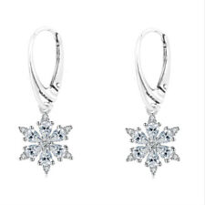 FASHIONS FOREVER® 925 Sterling Silver Snowflake CubicZirconia Leverback Earrings