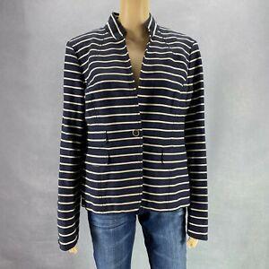 Banana Republic Women Blazer Jacket Italian Fabric Blue White Striped Plus 14