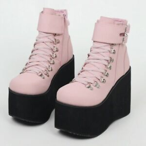 Gothic Punk Lolita Creepers Shoes Pastel Emo Steampunk Ankle High Heel Boots