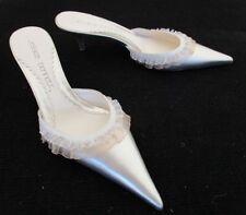 Jessica Bennett Leather Pointy Toe Slip-On Spike Kitten Heel Mules Size 8 M