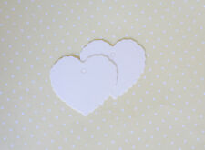 50x White Heart Paper Craft Gift Tag Favour Lolly Wedding Party Bag Name Label