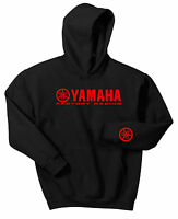 YAMAHA FACTORY RACING HOODIE SWEAT SHIRT BLACK RED YZF R1 R6 YFZ BANSHEE