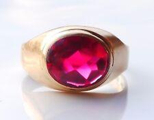 1960 Vintage Retro Men Signet Ring solid 18K Gold Ruby US 10 / 6.2