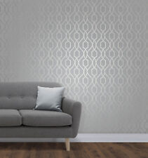 Fine Decor Metallic Geometric Apex Trellis Stone Silver Luxury Wallpaper FD41995