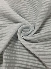 ICE GREY COTTON NYLON MIX FABRIC WITH SEE THROUGH STRIPES - SOLD BY THE METRE