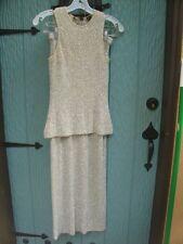 Donna Karan 2 Pc Set Cashmere w Sequins Sleevless Top Long Skirt Slit XS