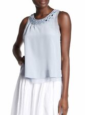 Rebecca Taylor 100% Silk Blue Mirror Accent sleeveless Top Blouse Size 10
