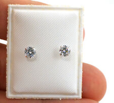 Pair of Sterling Silver Screw back Earring Round Clear CZ just for little girls