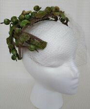 Vintage Green Foliage Fascinator with Face Netting