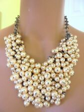 AUTHENTIC J CREW JEWELED PEARL STATEMENT NECKLACE  NWT IN PEACH