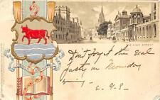 Oxford England The High Street Bull Embossed Postcard 1904 (Ds)