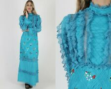 New listing Vintage 70s Teal Mexican Wedding Dress Floral Embroidered Sheer Floral Lace Maxi
