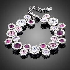 Made With Swarovski Crystals Sparkling Purple Flower Statement Bracelet Jewelry