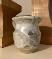 Vintage Art Studio Pottery Vase-Drip Glaze,Neutral Colors White,Gray,Blue,Signed