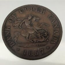 1857 Bank Of Upper Canada Half Penny Token Circulated Canadian Coin B612
