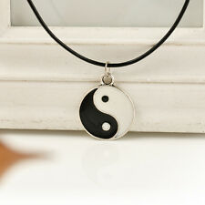 Tibetan Silver Chinese Sign Yin-yang Pendant Necklace Choker Black Leather Cord