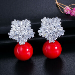 Gray Cubic Zirconia Snowflake Big Drop Pearl Earrings for Women Fashion Jewelry