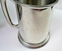 Vintage Pewter English Tankard Kent Silversmiths England Glass Bottom Mug Dave
