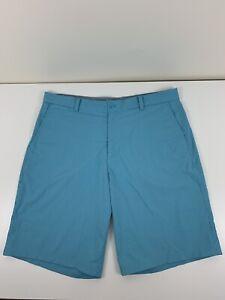 Nike Golf Aqua Striped Shorts Mens Size 36 Tour Performance Dri Fit Stretch EUC