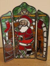 Forma Vitrum Stamped Santa with sack at Fireplace, Nice peice Tri- Fold Rare