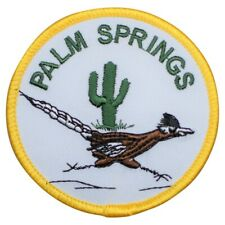Palm Springs California Patch - Roadrunner and Cactus (Iron on)