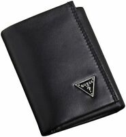 NEW GUESS BLACK LEATHER CREDIT CARD TRIFOLD ID PASSCASE CRUZ MEN'S WALLET
