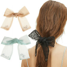 Fashion Women Hairpins Clip Ribbon Bow Barrettes Pearl Ponytail Hair Accessories